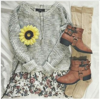 sweater grey sweater cute sweaters casual sweater spring sweater skirt shoes