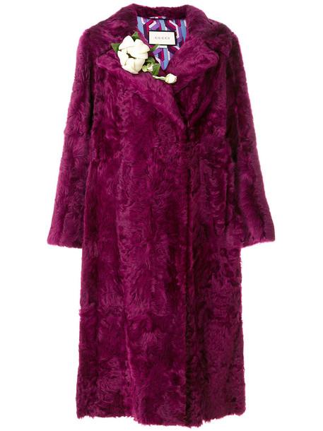 gucci coat fur coat fur women silk purple pink