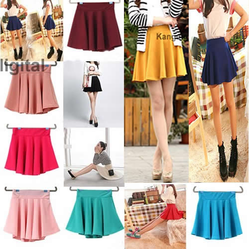 Korean Fashion Candy Colors Ladies Stretch Waist Pleated Short Skirt Sun Dress | eBay