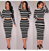 top,skirt,long sleeves,high heels,heels,black heels,shoes,two-piece,outfit,striped skirt,striped shirt,black and white
