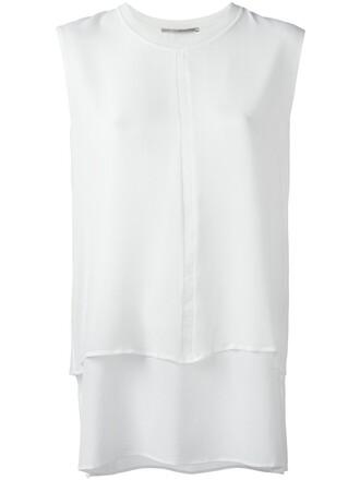 long women layered nude silk top