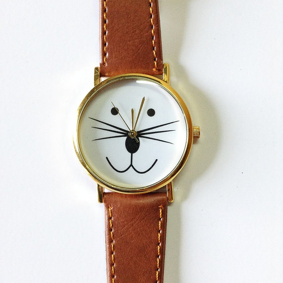 Cat Watch Kitty Watch Vintage Style Leather Watch  door FreeForme