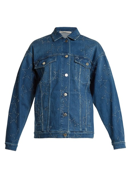 Stella McCartney jacket denim jacket denim oversized embroidered