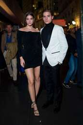 dress,barbara palvin,dylan sprouse,fashion week,celebrity,date outfit