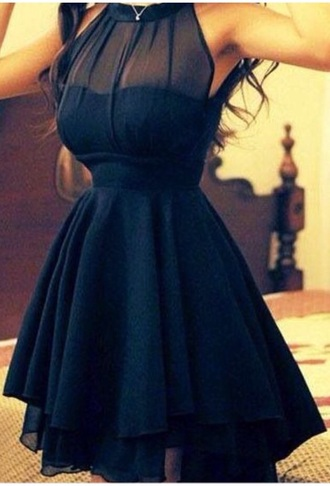 dress black dress chic short dress evening dress