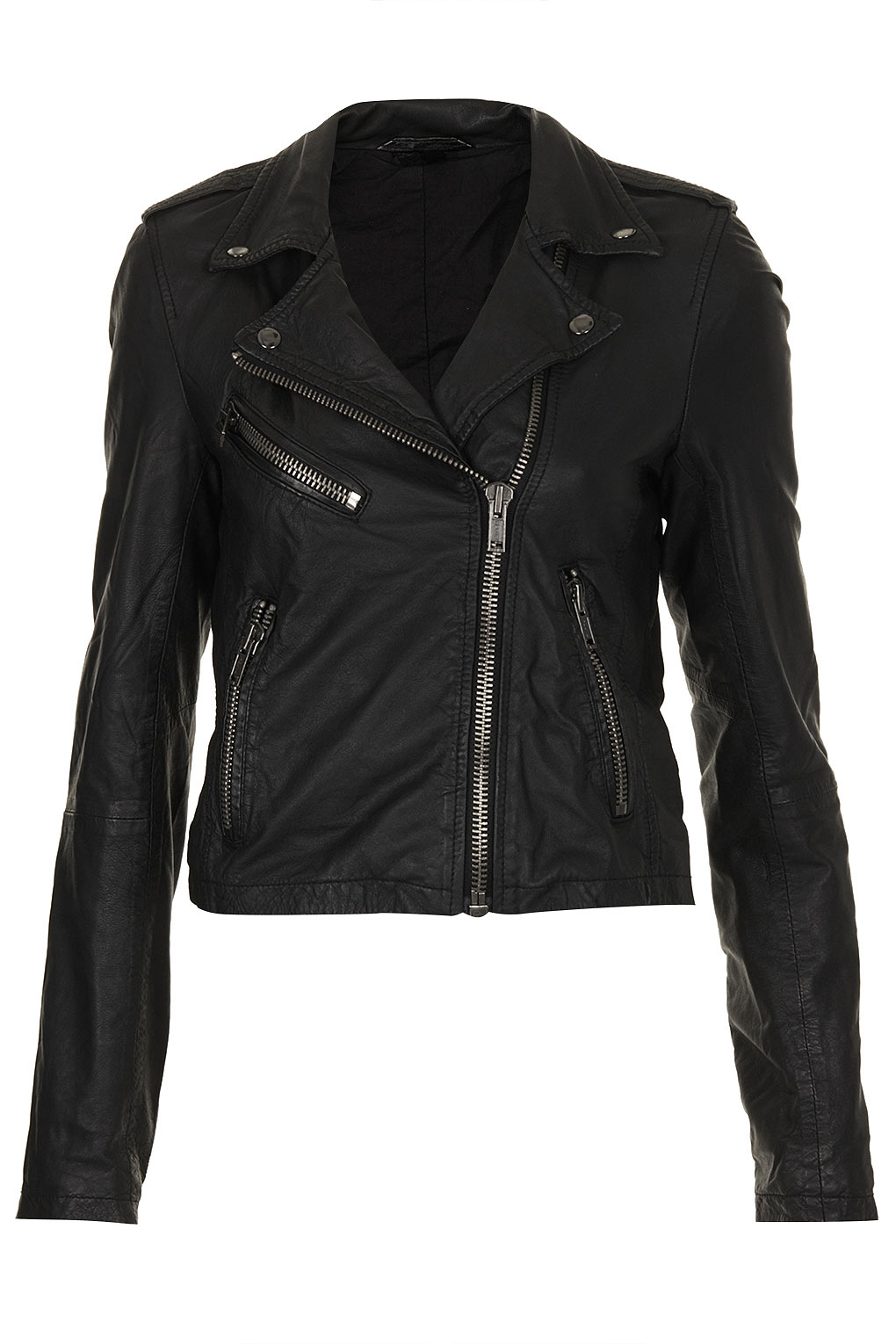 Shrunken leather biker jacket by boutique