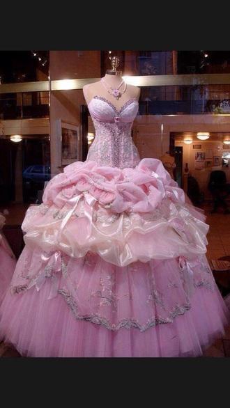 dress dramatic prom dress pink dress sparkles glitter dress