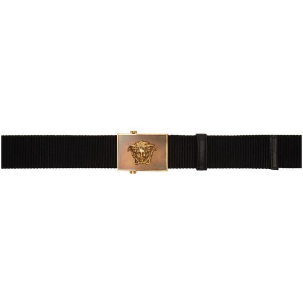 Versace Black Ribbon Medusa Square Belt