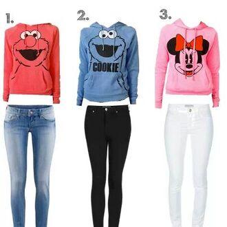 sweater elmo cookie monster minnie mouse sweatshirt red light blue baby pink jacket pants elmo cookie monster minnie mouse