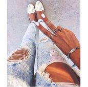 jeans,skinny jeans,white,light blue,ripped jeans,jewels,shoes,ripped,acid wash,blue,jewelry,bracelets,nails,ring,fashion,hipster,sunglasses,model,platform shoes,sweater,silver,studded flats,studded loafers,flats,gold,nail polish,blue jeans,summer,summer shoes,white shoes,rings and tings,fade,cropped,denim,women,studs,white flats,white studded flats