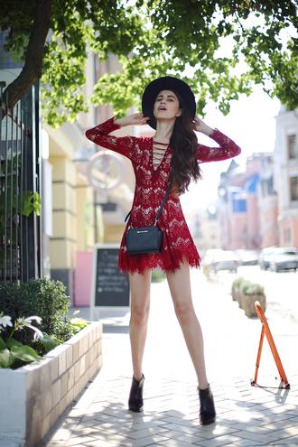 lace up red dress red lace red lace dress mini dress fall dress