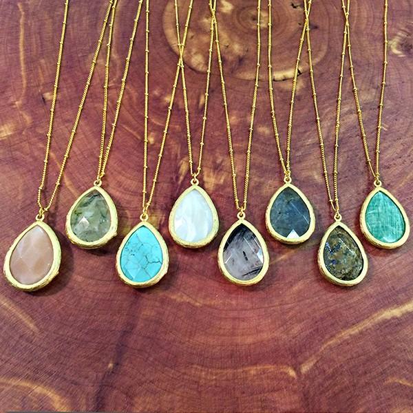 Gemstone wrap teardrop pendant necklaces (8 colors)