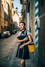 dress,tumblr,black dress,mini dress,little black dress,bag,yellow,yellow bag