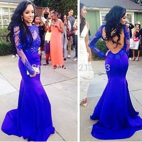 Onlyudress hot sale sexy charming mermaid floor length royal blue satin lace court train backless full sleeve crew neckline long women evening gown / prom dress / evening dress s482