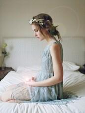 dress,light blue,blue dress,light blue dress,fairy tale,flower crown,flower headband,country wedding,romantic summer dress,beaded,beaded dress,formal dress,a line dress,medium dress,knee length dress,prom dress