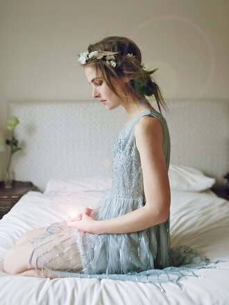 dress light blue blue dress light blue dress fairy tale flower crown flower headband country wedding beaded beaded dress formal dress a line dress medium dress knee length dress prom dress romantic summer dress