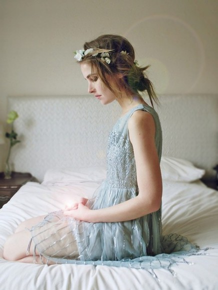dress fairytale light blue blue dress fairytale dress flower crown light blue beaded beaded dress formal dress dress a line dress medium dress knee length dress dresses for prom