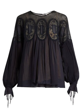 blouse long lace navy top