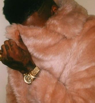 coat pink fur coat fur gold rolex