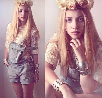 shirt aksinya air jumpsuit denim jumpsuit flower crown bracelets lace top shorts ukraine denim overalls hair accessory jewels