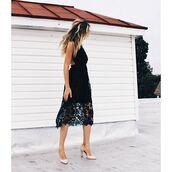 dress,floral,black,crochet,midi dress,fashion inspo,outfit goals,fashion,na-kd,NA-KD Fashion