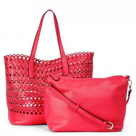 Women's Hot Coral Faux Leather Lasercut Large Tote With Pouch | Bonnie by Sole Society