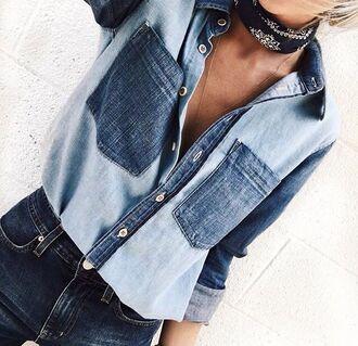 blouse denim denim shirt denim blouse shirt jewels bandana bandana print scarf choker necklace accessories trendy style