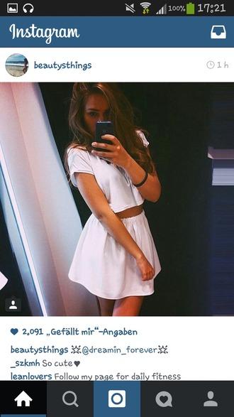 dress white dress summer dress top skirt set