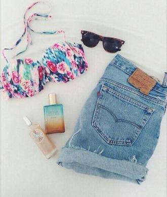 swimwear shorts sunglasses summer outfits floral swimwear