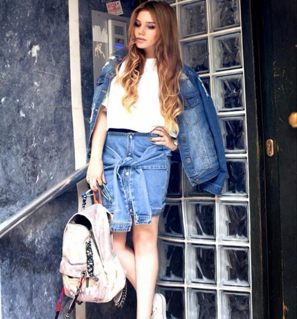 skirt skirt denim skirt bag streetstyle stylemoi summer outfits swag top