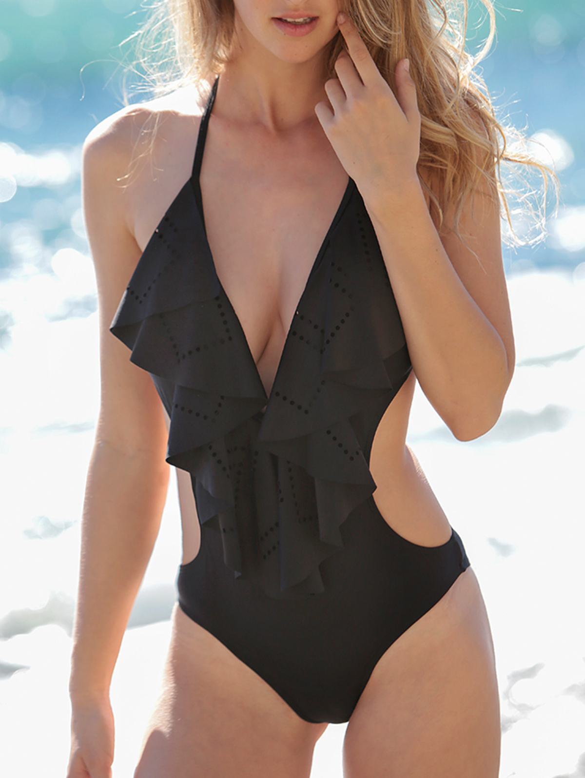 Low Cut Flounce One-Piece Swimwear