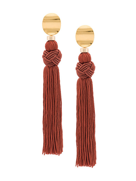 LIZZIE FORTUNATO JEWELS tassel women earrings gold brown jewels