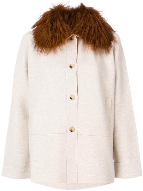 coat fur fox women spandex nude wool