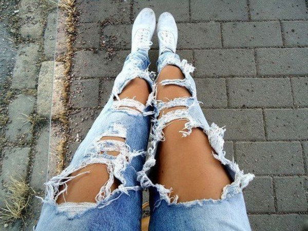 jeans shoes white ripped legs light blue pretty rebel attitude tumblr pants fashion luxury fashion blue wow ripped jeans pants denim ripped jeans