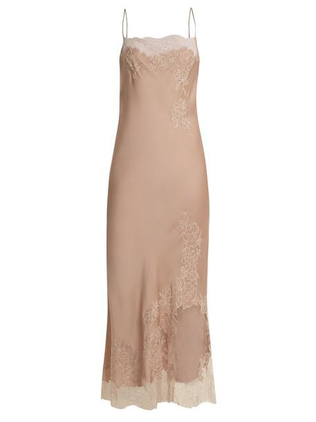 Carine Gilson dress maxi dress maxi lace silk satin nude