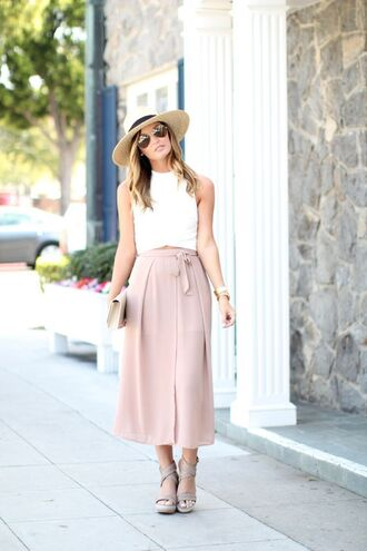 for all things lovely blogger top skirt shoes hat bag jewels