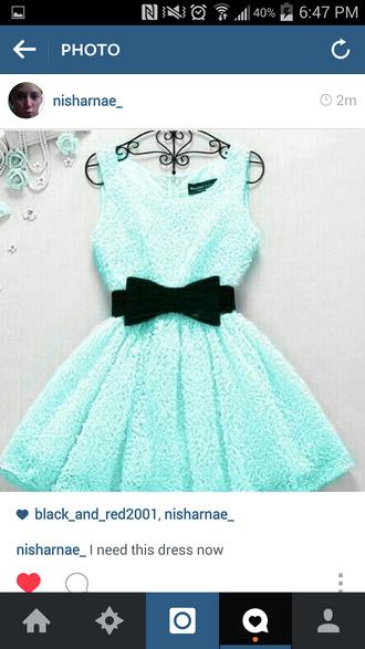 blue dress dress mint black bow bow cute dress short dress mintgreendress bowbelt mint dress