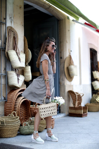 dress tumblr midi dress summer dress summer outfits bag basket bag woven bag sandals espadrilles wedges wedge sandals shoes sunglasses work outfits office outfits