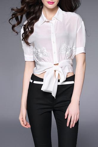 blouse white short sleeve fashion style bow elegant classy dezzal