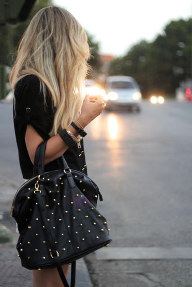 bag tote bag studded bag black bag leather bag studs