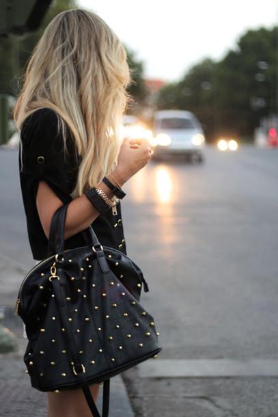 90cacf7b235 bag leather bag studded bag leather studded studs black bag tote bag big  black bag black