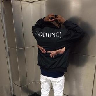 jacket black windbreaker menswear [nothing] nothing was the same drake bomber jacket nothing streetwear tumblr outfit tumblr jacket
