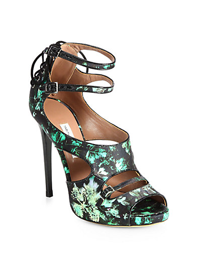 Tabitha Simmons - Bailey Ivy-Print Satin Sandals - Saks.com