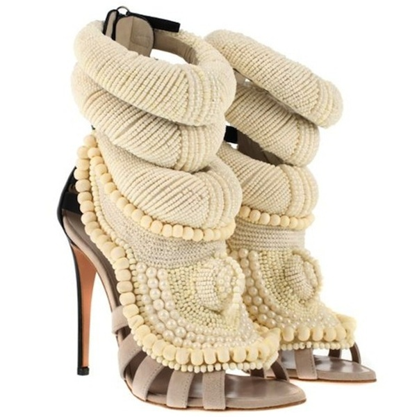 2014 New west pearls high heels women embroidered gladiator sandal boots ankle straps beading booties thin heel dress shoes-in Boots from Shoes on Aliexpress.com | Alibaba Group