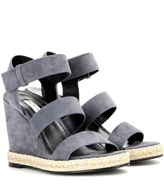 sandals wedge sandals suede grey shoes