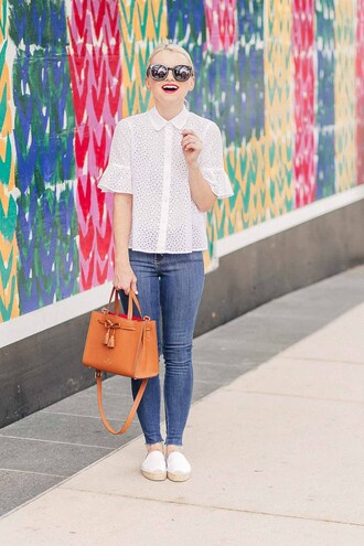 poor little it girl blogger t-shirt dress jacket top blouse white shirt orange bag handbag espadrilles summer outfits