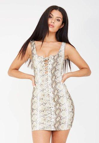 dress snake skin brown mini mini dress