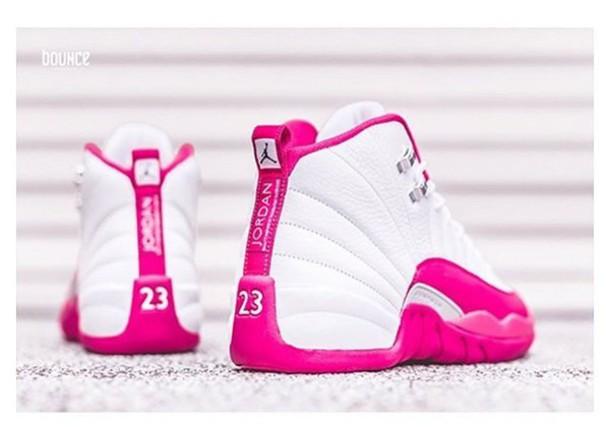 shoes, pink, white, jordans - Wheretoget