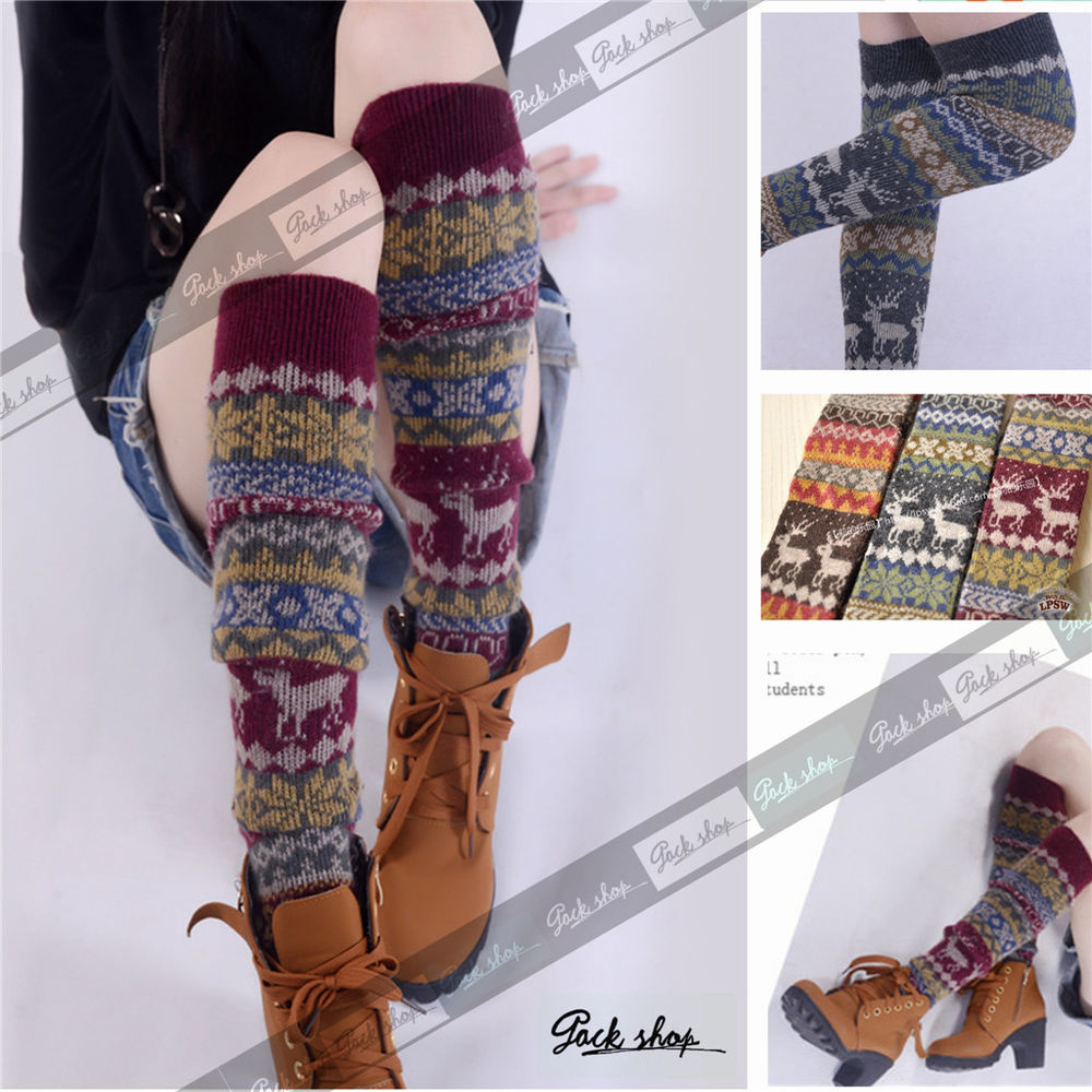 2014 hot angora wool vintage nordic snow boho boots leg warmers socks knee high