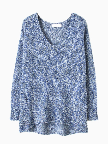 Blue Metallic Yarn Sweater With Dipped Hem | Choies